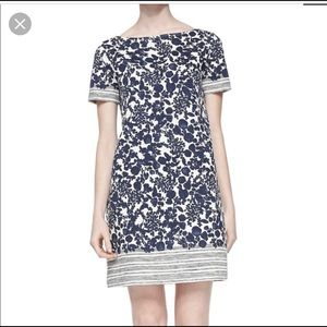 Tory Burch Elizabeth Floral Blue Shift Dress M